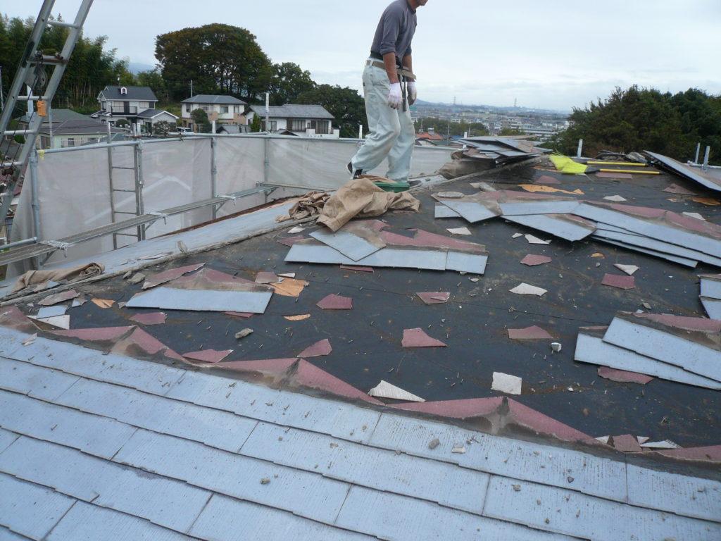 屋根工事 屋根材撤去